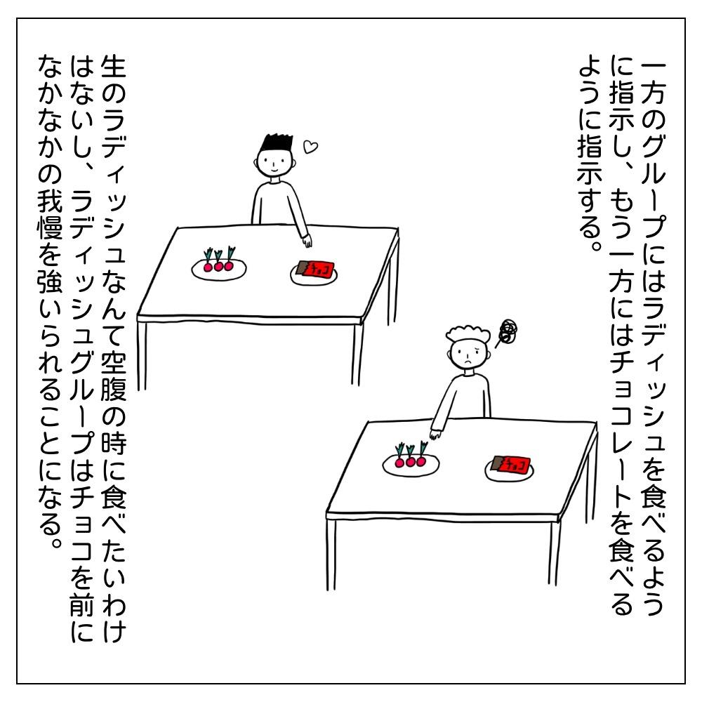 ラディッシュ実験というものがある。一方にはチョコを一方にはラディッシュを食べさせる。