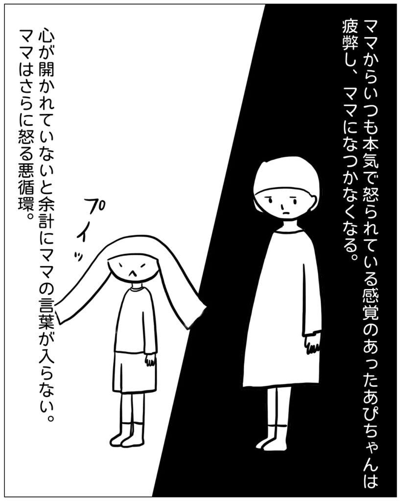ママからいつも本気で怒られている感覚のあったあぴちゃんは疲弊しママになつかなくなる。