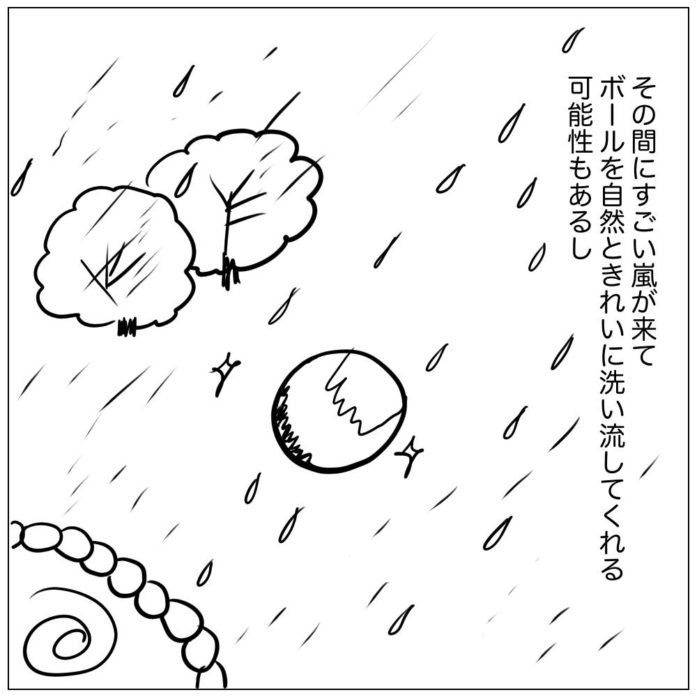 一週間もあれば、その間にすごい嵐がきてボールをきれいに洗い流してくれるかもしれないし。