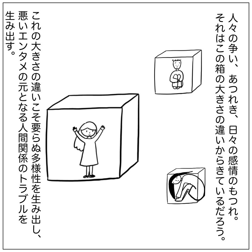 人々の争い、あつれき、日々の感情のもつれ。これはこの箱の大きさの違いからきているだろう。