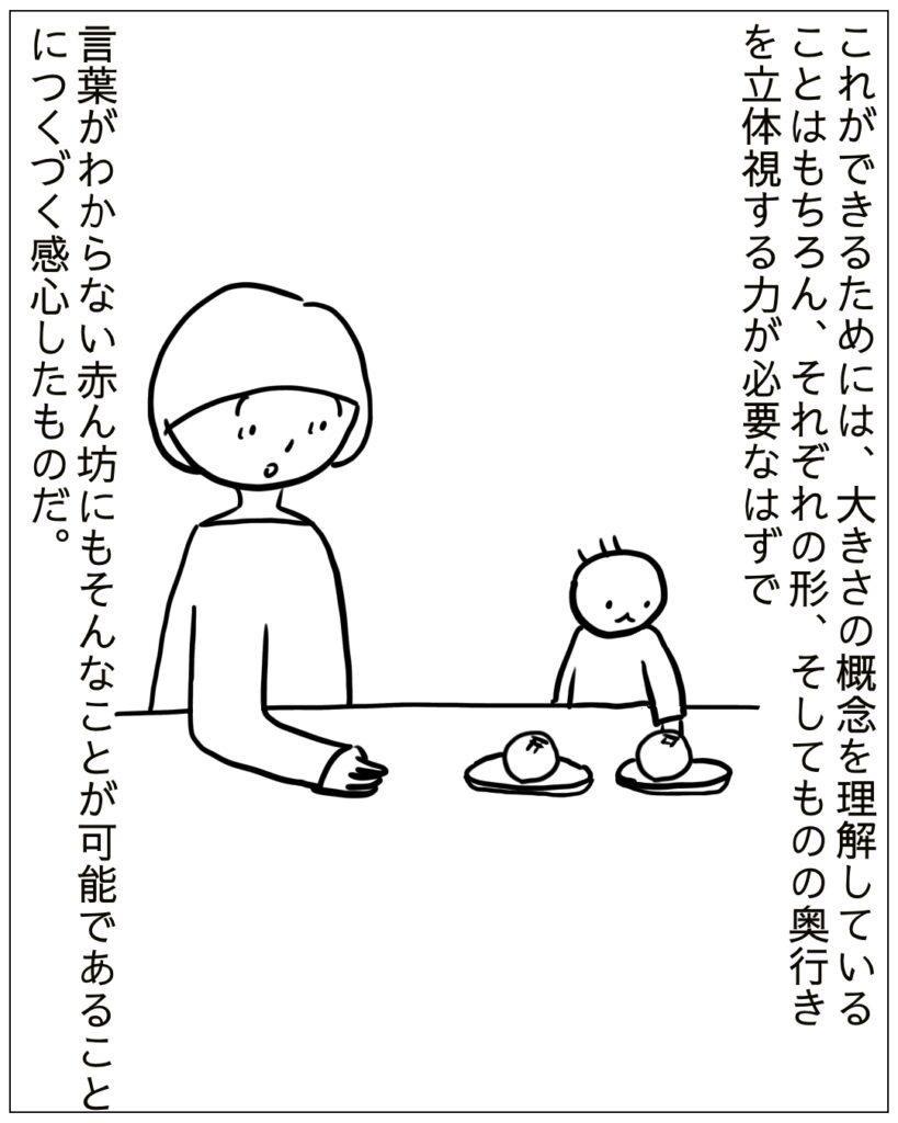 どんな微妙な差でも大きい方を選ぶので赤ん坊の空間認識力に感心させられたのである。