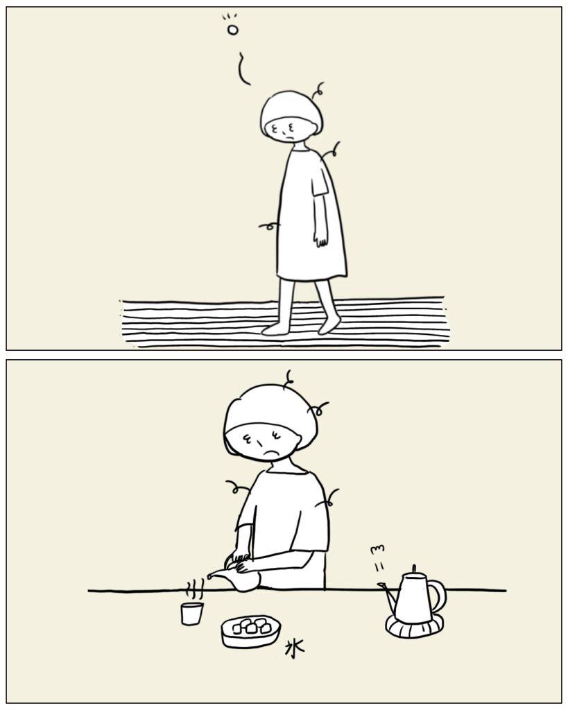 お茶をいれるママ